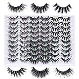 Weyzim False Eyelashes 30 Pairs 6 Styles Fake Eyelashes Pack 20MM Faux Mink Lashes Thick Crossed Fluffy Volume Soft Reusable Eye Lashes Wholesale Multipack