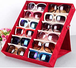 QRRY Glasses Display Case 12 Grids Eyewear Sunglasses Box Storage Case Organizer Solid Top Black (Color : Red)
