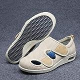 XRDSHY Zapatos para Diabéticos para Hombre, Zapatillas Artríticas Hinchadas, Calzado Ortopédico Extra Ancho, Zapatos Antideslizantes para Caminar para Ancianos,Khaki-EU41
