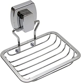 ZCCZ Soap Dish with Patented Powerful Suction Cup, Stainless Steel Wall Mounted Soap Holder, Sponge Holder for Shower, Bathroom, Tub and Kitchen Sink, Chrome