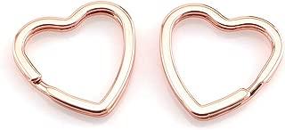 Lind Kitchen 10pcs Creative Flat Key Ring DIY Keychain Accessories Metal Key Split Ring Heart Shape(Rose Gold)