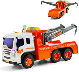 Gizmovine Toy Truck Heavy Duty Wrecker Tow Truck Police Construction Toys for Boys with Friction Power (with Double Hooks)