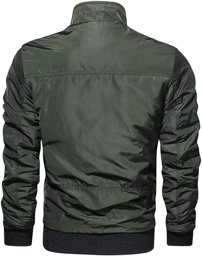 Stoota Men's Lightweight Windbreaker Coat, Winter Stand Collar Regular Fit Jacket Water Resistant Shell Army Green