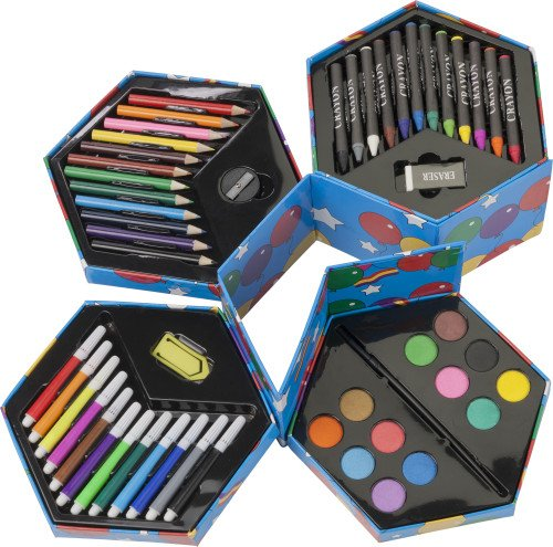 """Painting set """"Dirty Harry"""" - felt-tip pens, crayons, crayons, watercolors in a hexagonal storage box by"""