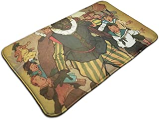 DIDIDI Sinterklaas and Zwarte Piet Vintage Throw Area Ground Mat Accent Floor Carpet Outside Door Set Decor Welcome Entryway Rug Sign Celebrate Decorations Ornament