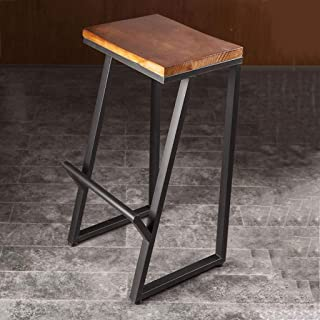 Kays Barstools Wrought Iron Vintage Pub Counter Bar Chairs, Cafe Kitchen Solid Wood Rustic Leisure Breakfast Dining High Stools