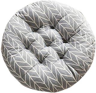 Toruiwa - Cojín redondo grueso para silla de comedor, sofá, respaldo de silla, tatatami gris, 40 x 40 cm