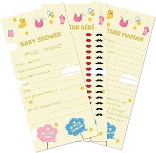 30 Cartes de Jeu autour de Bébé et de la Future Maman pour Baby Shower (Jeu Mixte)
