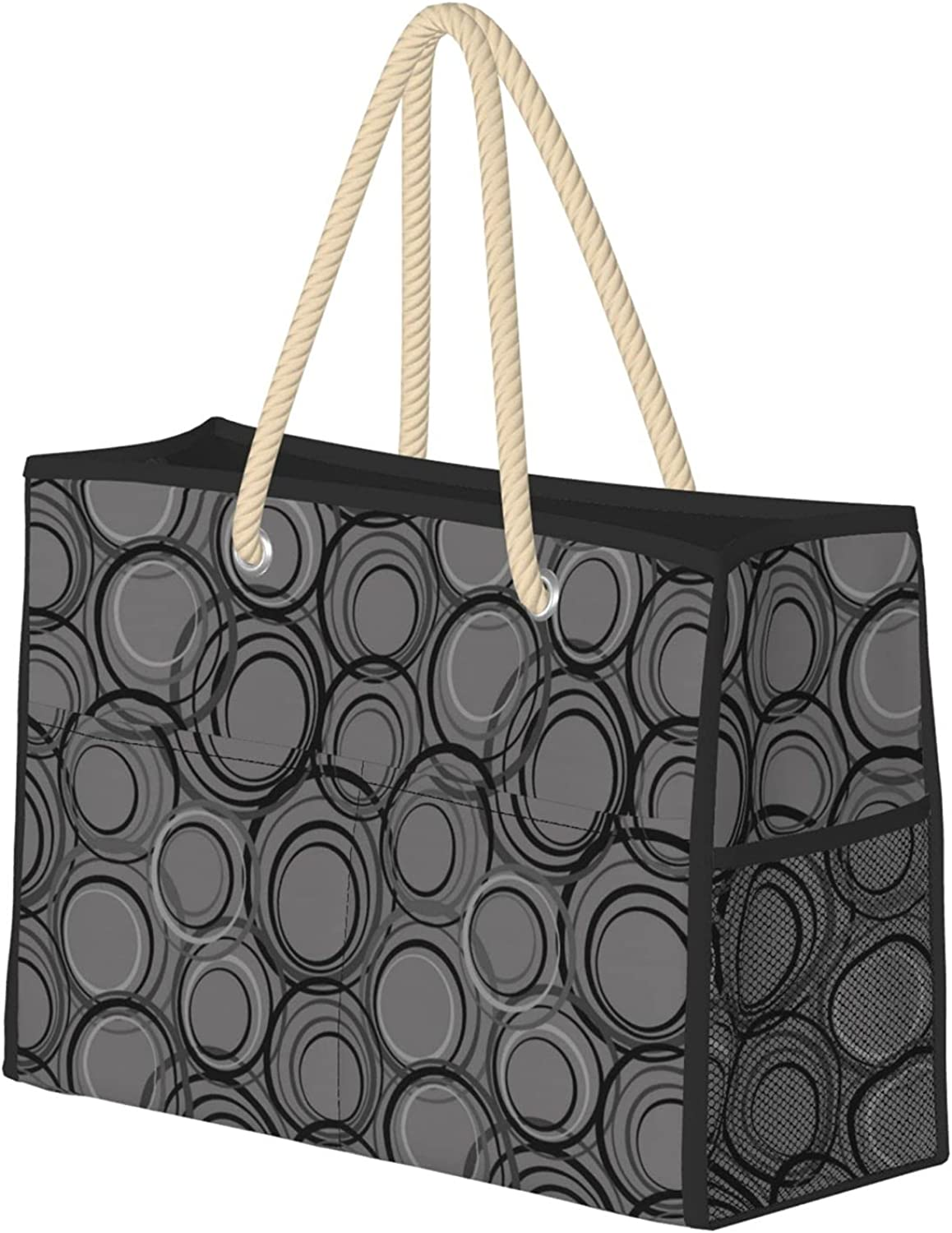 Black And Grey Selling and selling Women Beach Reusable Bag Travel Utility 5% OFF Tote