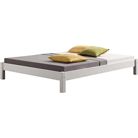 IDIMEX Lit futon Double pour Adulte Taifun 140 x 200 cm, 2 Personnes, 2 Places, pin Massif lasuré Blanc