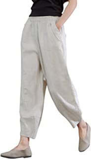 IXIMO Women's 100% Linen Pants Relax Fit Lantern Cropped...