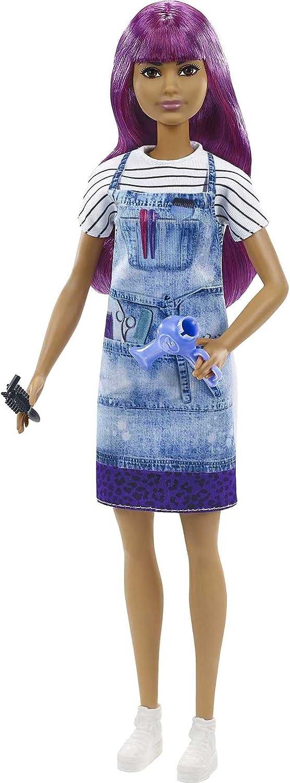 Barbie quiero ser peluquera muñeca salón de belleza y accesorios para niñas + 3 años (Mattel GTW36)