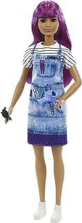 Barbie Salon Stylist Doll (12-in/30.40-cm), Purple Hair, Accessories GTW36