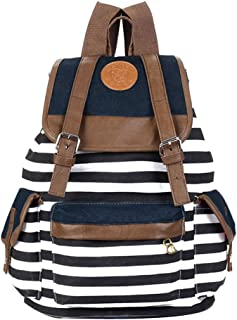 Nalmatoionme Unisex Rucksack aus Segeltuch, gestreift, Blau / Weiß / Marineblau