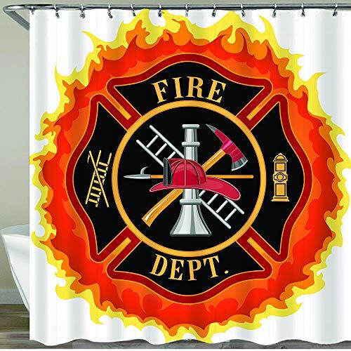 COFEIYISI Duschvorhänge Feuerwehr-Symbol mit Leiter Öffentlicher Dienst Gr&legende Werkzeuge von Feuerwehrleuten Wasserdicht Bad Vorhang Waschbar Bad Vorhang Polyester Stoff mit 12 Haken 180x180 cm