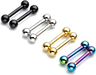 Zysta 4 Pairs Stainless Steel 14G Mixed Colors Body Piercing Barbells 6-16mm Post Studs Earring Nipple Nose Tongue Helix Tragus Cartilage Labaret Medusa Lip Eyebrow Straight Bar Ball Screw