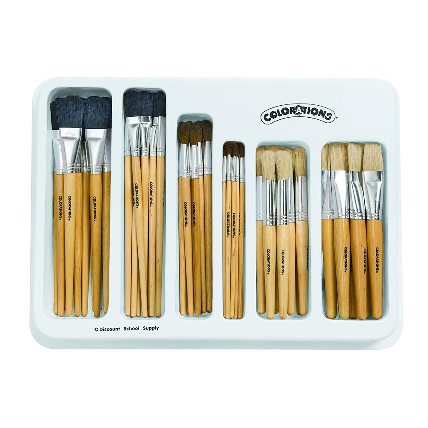 Colorations Natural Paintbrush Classroom Set Multipack Arts and Crafts Material for Kids (72 Brushes)