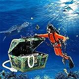 Abnaok Acuario pecera tesoro pecho buzo ornamento, burbujas de aire decoraciones para tanque de peces, necesidad de conectar la bomba de aire (naranja)