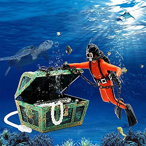 Abnaok Aquarium Deko, Aquarium Schatztruhe Taucher Aquarium Dekoration für Fisch Tank Ornament (Orangefarben)