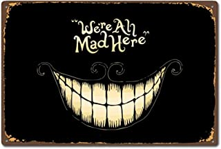 Cheshire Cat Smile Face Vintage Retro Tin Sign Pin Up Metal TIN Sign 7.8X11.8 INCH