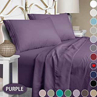 Mejoroom Bed Sheets Set,Extra Soft Luxury Queen Size Sheets with 15-inch Deep Pocket,Premium Bedding Collection - Breathable Wrinkle Fade Stain Resistant Hypoallergenic - 4 Piece (Queen, Purple)