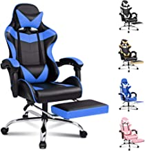 ALFORDSON Gaming Chair Racing Chair Executive Sport Office Chair with Footrest PU Leather Armrest Headrest Home Chair in B...