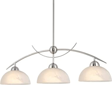 "Kira Home Athena 31"" Modern & Contemporary 3-Light Pendant Island Light + Alabaster Glass Shades, Adjustable Hanging Height,"