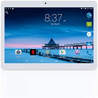 YELLYOUTH Android Tablet 10 inch with Sim Card Slots 4GB RAM 64GB ROM Octa Core 3G Unlocked GSM Phone Tablet PC Compatible with Bluetooth WiFi GPS - White