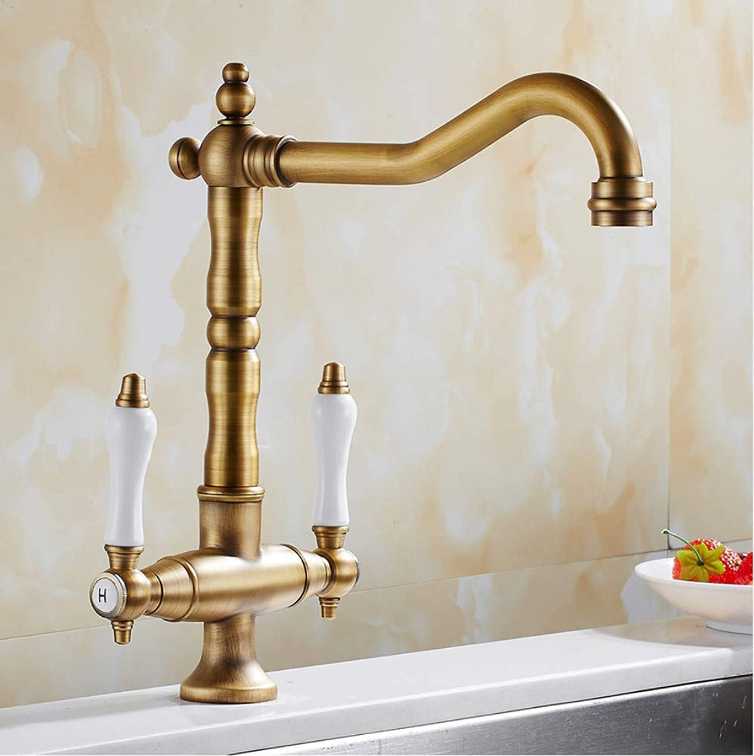 Water Tap 360 Swivel Kitchen Faucet Antique Brass Dual Porcelain Traditional Kitchen Sink Mixer Taps Twin Lever Solid Brass Basin