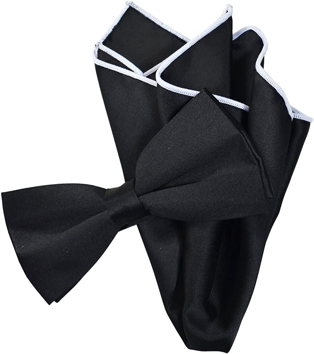 Solid Black Men's Bow Tie with Contrast Trim Pocket Square