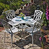 <span class='highlight'>Lazy</span> <span class='highlight'>Susan</span> <span class='highlight'>Furniture</span> - Anna 80 cm Round 4 Seater <span class='highlight'>Cas</span>t Aluminium Garden <span class='highlight'>Set</span> - White (April <span class='highlight'>chairs</span>)