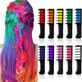 10 Color Temporary Bright Hair Chalk Set, Kalolary Metallic Glitter Hair Chalks Halloween Christmas Birthday Girls Gift, Hair Chalk Comb Set Washable Color for Kids Hair Dyeing Party, Cosplay