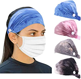 4 Pack Tie Dye Headbands with Buttons for Face Mask, Ear Protection Holder Elastic Button Headbands for Nurses, Spa Turban Headbands for Women