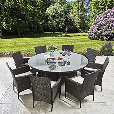Laura James 8 Seater Rattan Round Dining Table & Chair Set Brown - Garden Furniture Outdoor by AGTC LTD