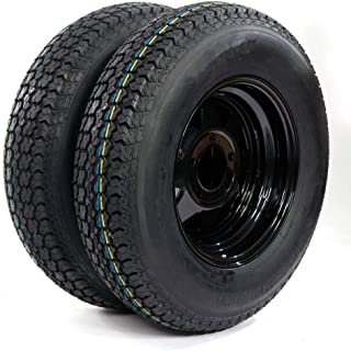 2 of Trailer Tubeless Tire & Rim ST175/80D13 5 Lug black Spoke LRC Bias (5x4.5 bolt circle) TIRES H188 17580D13 5 on 4.5