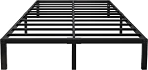 yookare 14 Inch Tall 3000lbs Heavy Duty Metal Bed Frame/ with Storage/ Mattress Foundation/ Steel Slats Platform/ Noise Free/ No Box Spring Needed,King