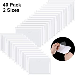 40 Pieces Self-Adhesive Card Pocket Label Pockets Self-Adhesive Business Card Holders for Organizing and Protecting Index Cards, Business Cards or Photos, 2 Sizes