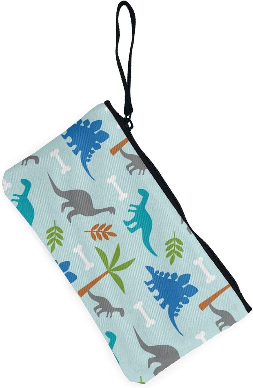 AORRUAM Dinosaur and palm tree Canvas Coin Purse,Canvas Zipper Pencil Cases,Canvas Change Purse Pouch Mini Wallet Coin Bag