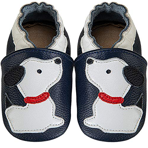 Krabbelschuhe Baby Lauflernschuhe Jungen Weiche Leder Babyschuhe Kleinkind Lederschuhe mädchen Babyhausschuhe(Blauer Hund,12-18)
