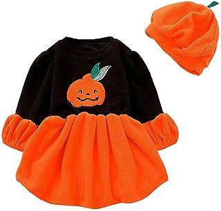 Vectry Vestido Niña Disfraz Niña Bebé Niñas Manga Larga Halloween Dibujos Animados Calabaza Vestido + Sombrero Trajes Tutú...