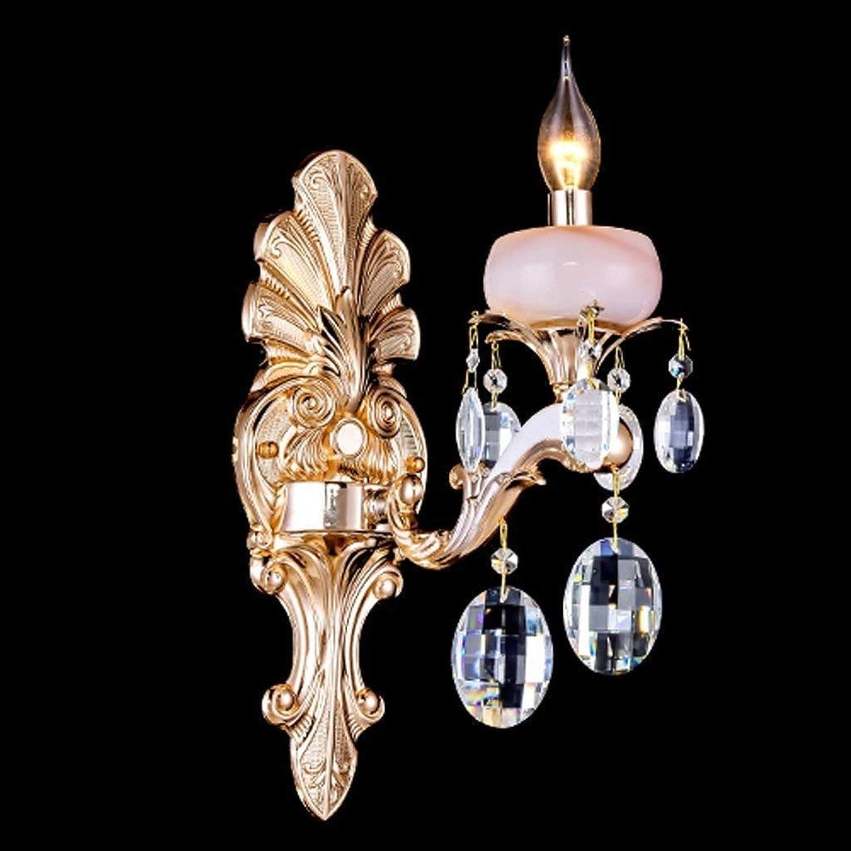 HhGold Parlament Crystal Jade Zink-Legierung Gold Wandleuchte Schlafzimmer Nachttisch Lampe Walking Lounge (Farbe    1) (Farbe    2)