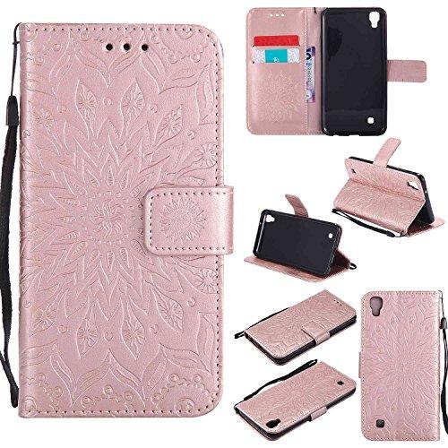 Guran® Funda de Cuero Para LG X Power Smartphone Función de Soporte con Ranura para Tarjetas Flip Case Cover-oro rosa