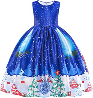 HUAANIUE Girls Dress Christmas Eve Xmas Snow Holiday Party Dresses