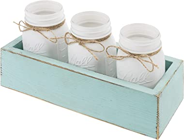 MyGift White Glass Mason Jars with Rustic String in Vintage Aqua Blue Wood Box Tray