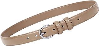 Women Leather Belt Skinny Dress Belt for Jeans Pants with Silver Buckle