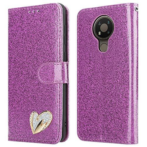iPEAK Schutzhülle für Nokia 3.4 (glänzend, Leder, glitzernd, Standfunktion, Kartenfach, Geldbörsen-Stil, für Nokia 3.4, Violett