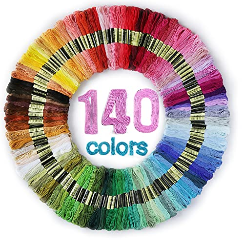 Premium Rainbow Color Embroidery Floss 140 Skeins Per Pack with Cotton for Cross Stitch Threads, Bracelet Yarn, Craft Floss, Aroic Embroidery Floss Set