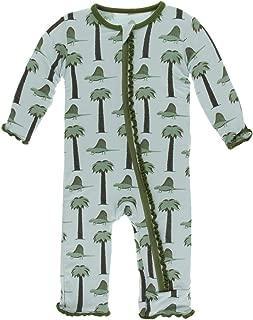 KicKee Pants Print Muffin Ruffle Coverall with Zipper (3-6 Months, Dimetrodon)