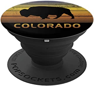 Buffalo Silhouette State Colorado Black Gold Fun University - PopSockets Grip and Stand for Phones and Tablets