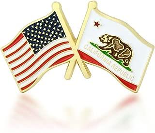 GS-JJ American and California State Crossed Friendship Flag Enamel Lapel Pin